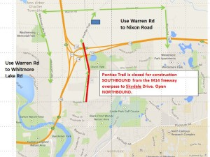 Construction – Pontiac Trail closed southbound